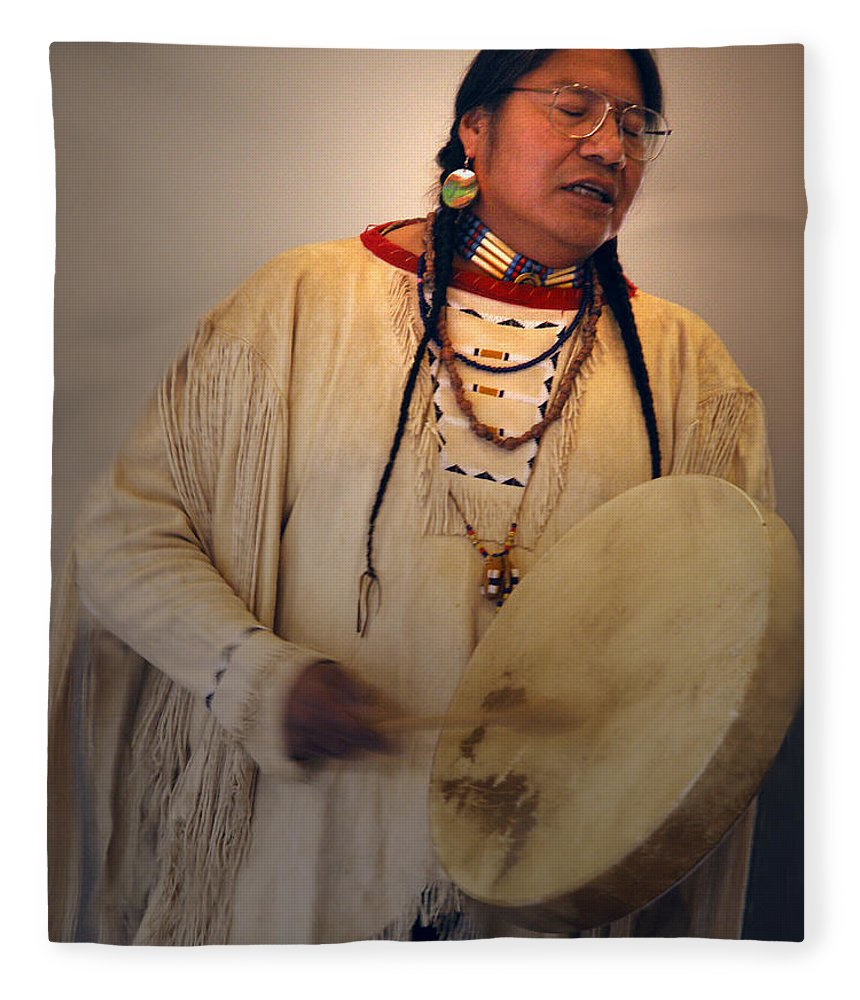 Drum Fleece Blanket featuring the photograph Cheyenne Native American Drummer by Nancy Griswold