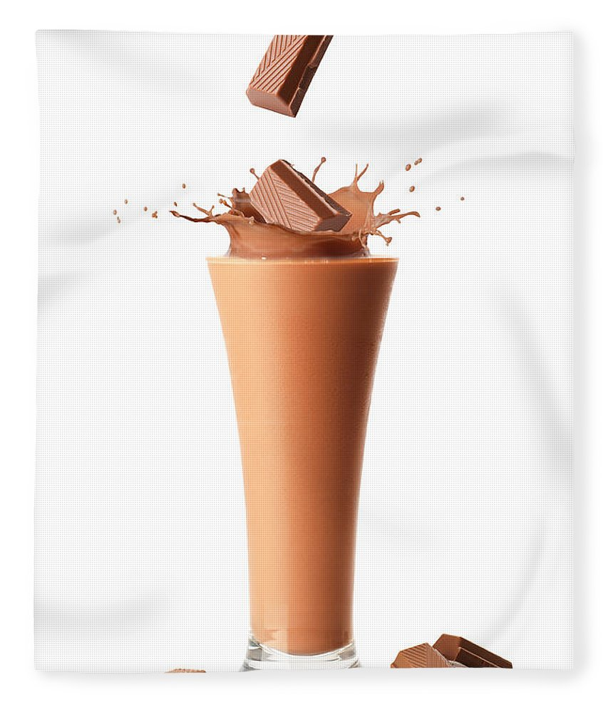Chocolate Fleece Blanket featuring the photograph Chocolate Milkshake Smoothie by Amanda Elwell