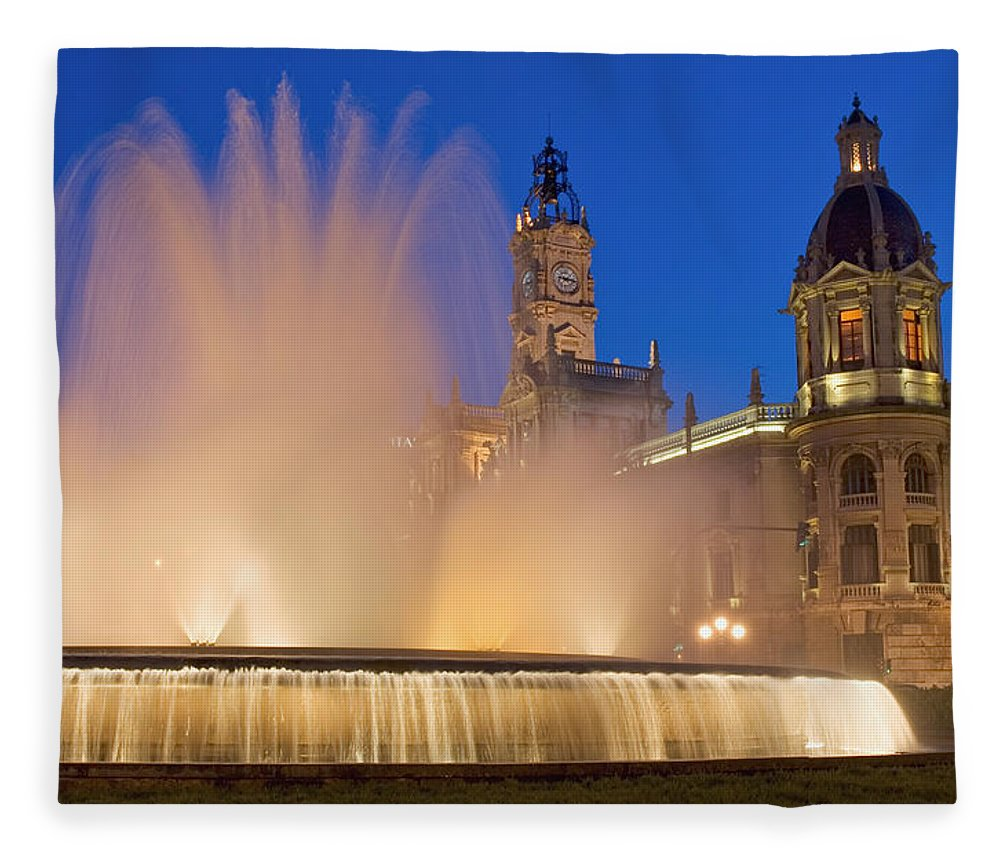 Water Fleece Blanket featuring the photograph City Hall And Fountain At Dusk by Axiom Photographic