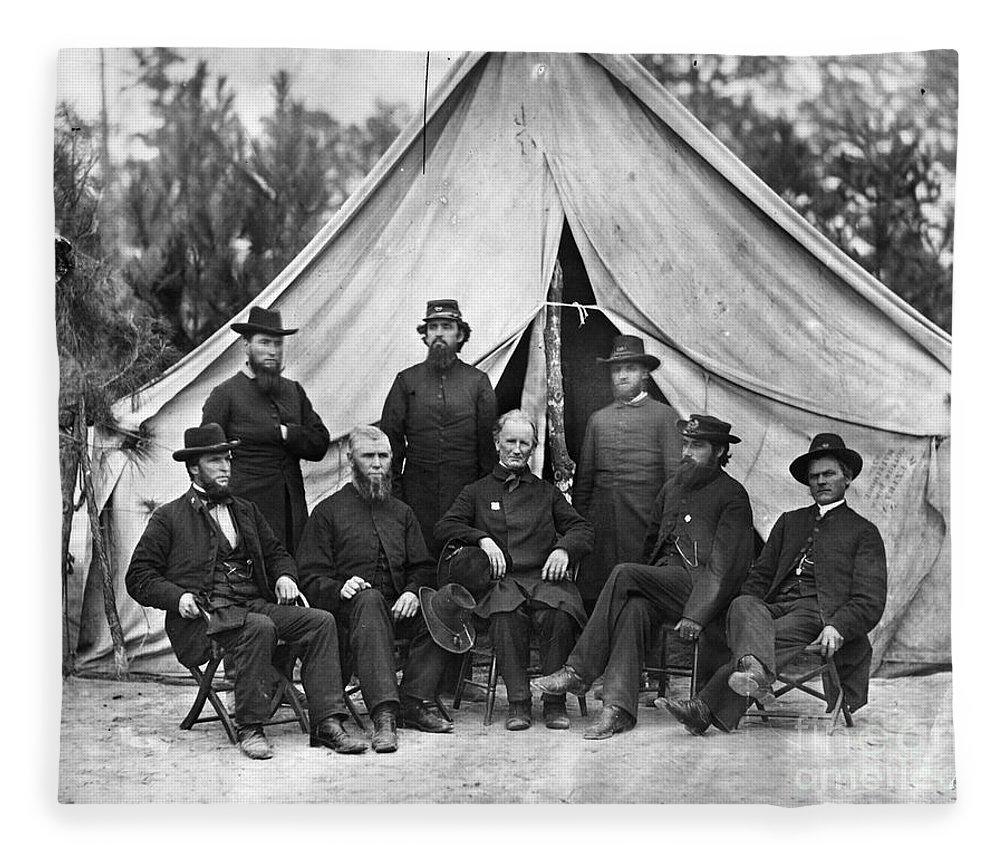 1864 Fleece Blanket featuring the photograph Civil War: Chaplains, 1864 by Granger