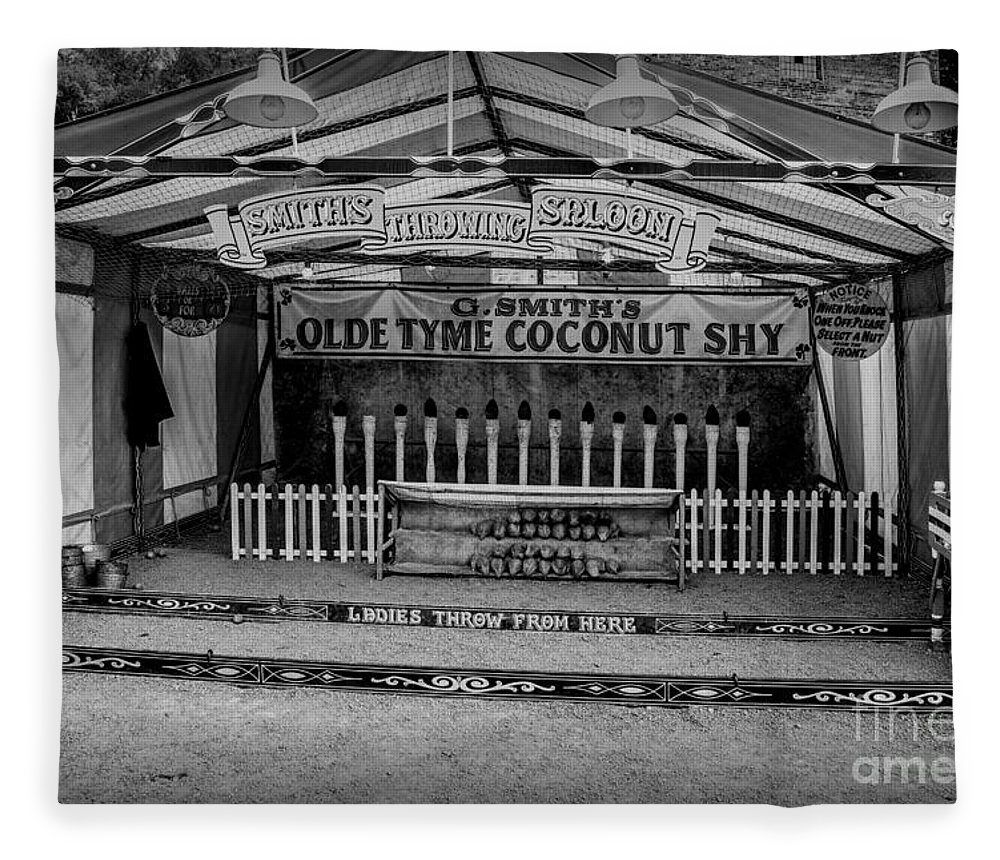 British Fleece Blanket featuring the photograph Coconut Shy 2 by Adrian Evans