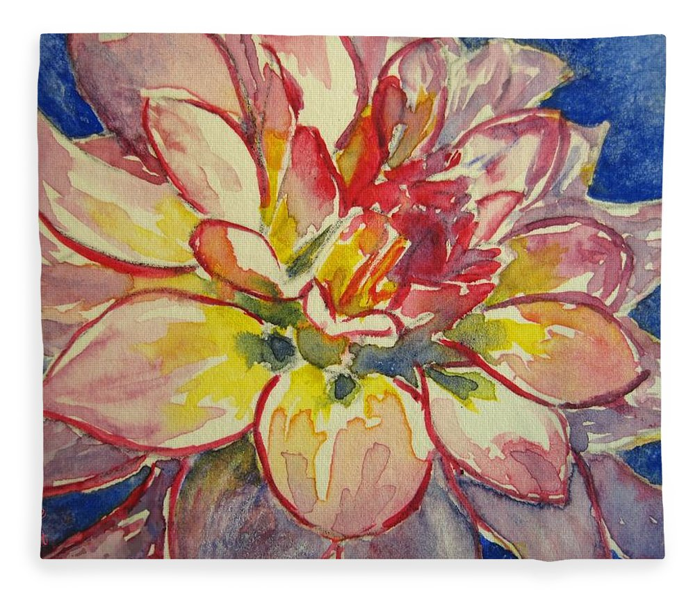 Dahlia Fleece Blanket featuring the painting Dahlia by Corynne Hilbert