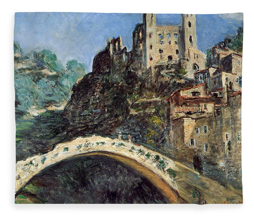 Dolceacqua Fleece Blanket featuring the painting Dolceacqua by Claude Monet