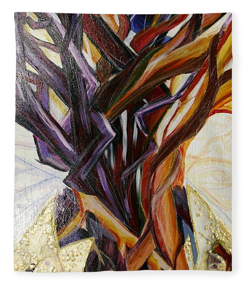 Apple Fleece Blanket featuring the painting Fifth World Three by Kate Fortin