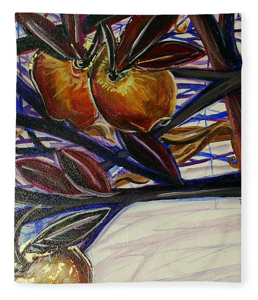 Tree Fleece Blanket featuring the painting Fifth World Two by Kate Fortin