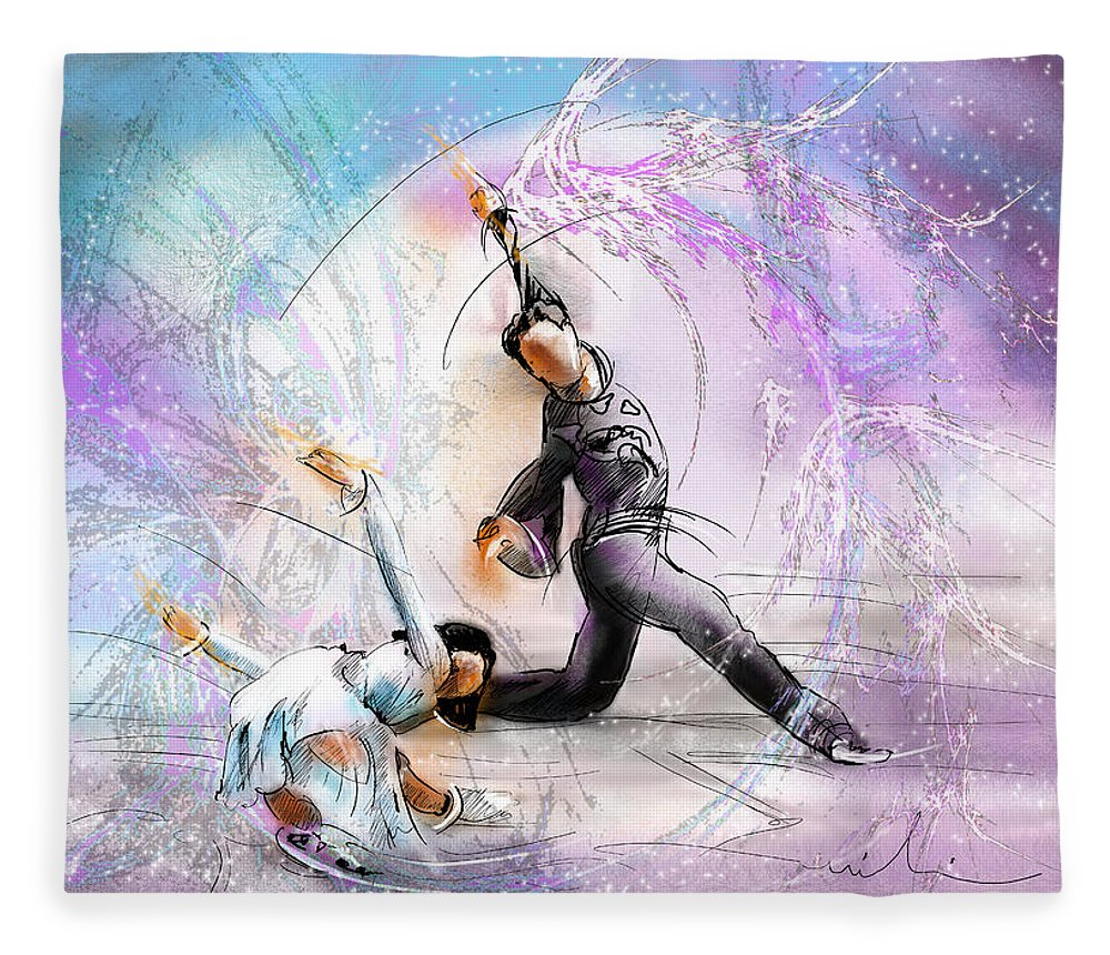 Sports Fleece Blanket featuring the painting Figure Skating 02 by Miki De Goodaboom