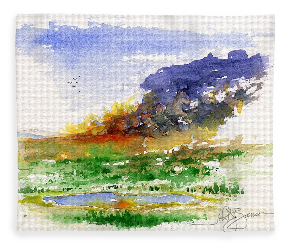 Fire Fleece Blanket featuring the painting Fire on the Pond by John D Benson
