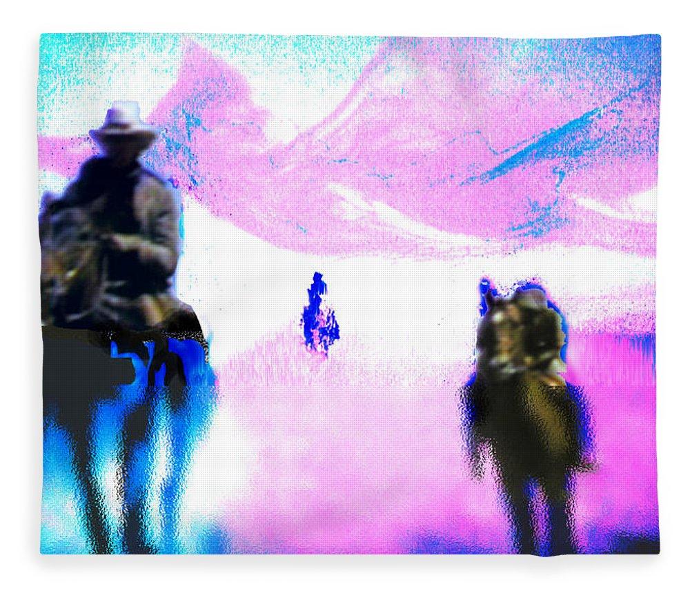 Five Riders Fleece Blanket featuring the digital art Five Riders by Seth Weaver