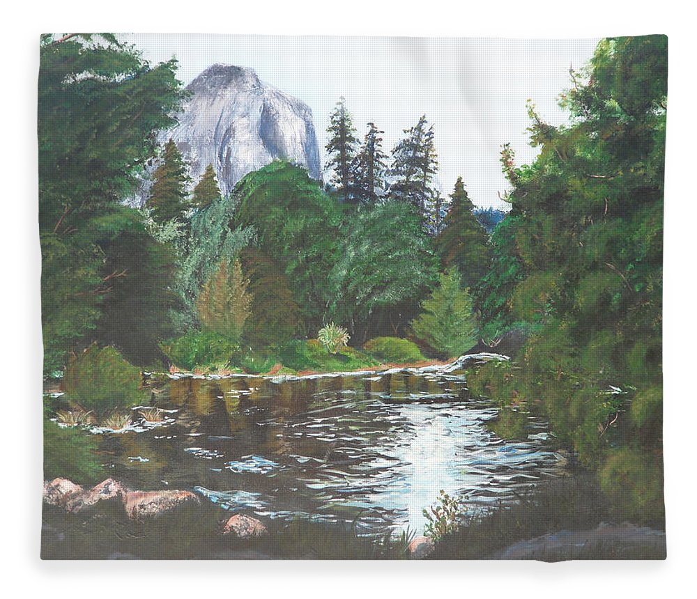 Yosemite Fleece Blanket featuring the painting Frog's Eye View by Travis Day