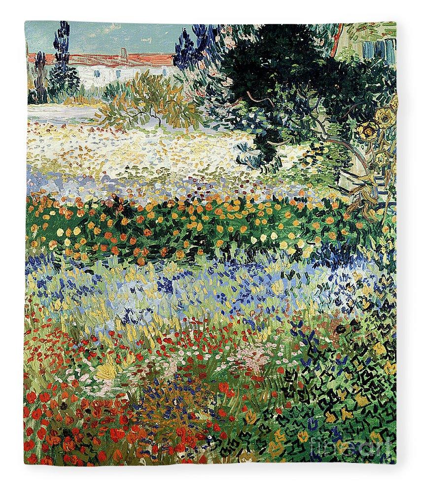 Garden In Bloom Fleece Blanket featuring the painting Garden in Bloom by Vincent Van Gogh