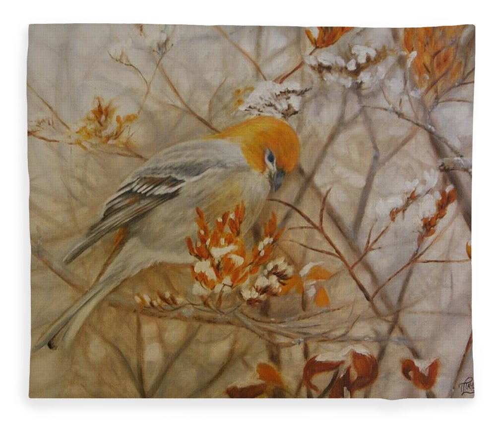 Pine Grosbeak Fleece Blanket featuring the painting Generous Provision by Tammy Taylor