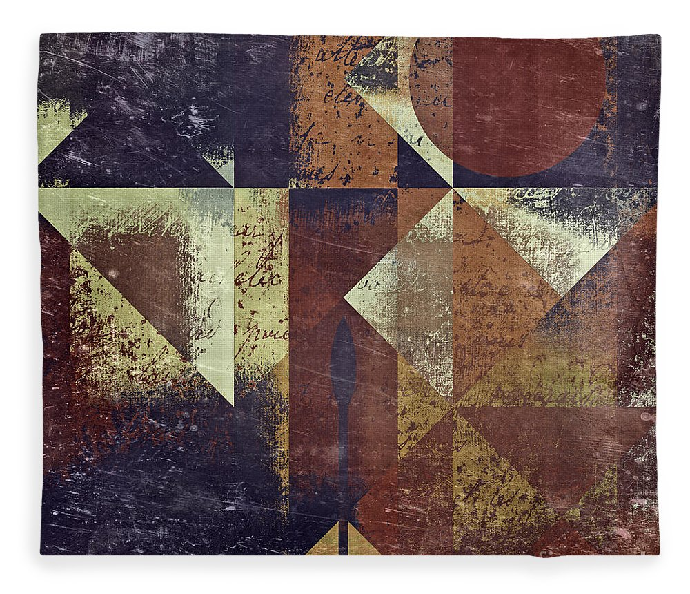 Abstract Art Fleece Blanket featuring the digital art Geomix 04 - 6ac8bv2t7c by Variance Collections