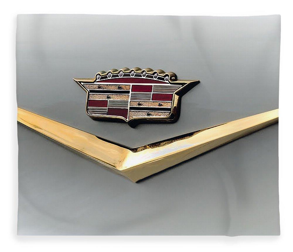 Cadillac Fleece Blanket featuring the digital art Gold Badge Cadillac by Douglas Pittman