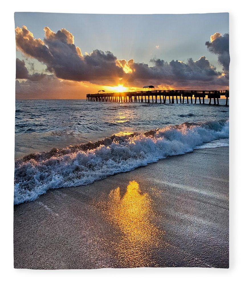 Clouds Fleece Blanket featuring the photograph Golden Shadows by Debra and Dave Vanderlaan