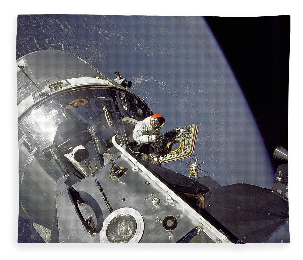 Apollo 9 Fleece Blanket featuring the photograph Gumdrop Meets Spider- Apollo 9 by Nasa