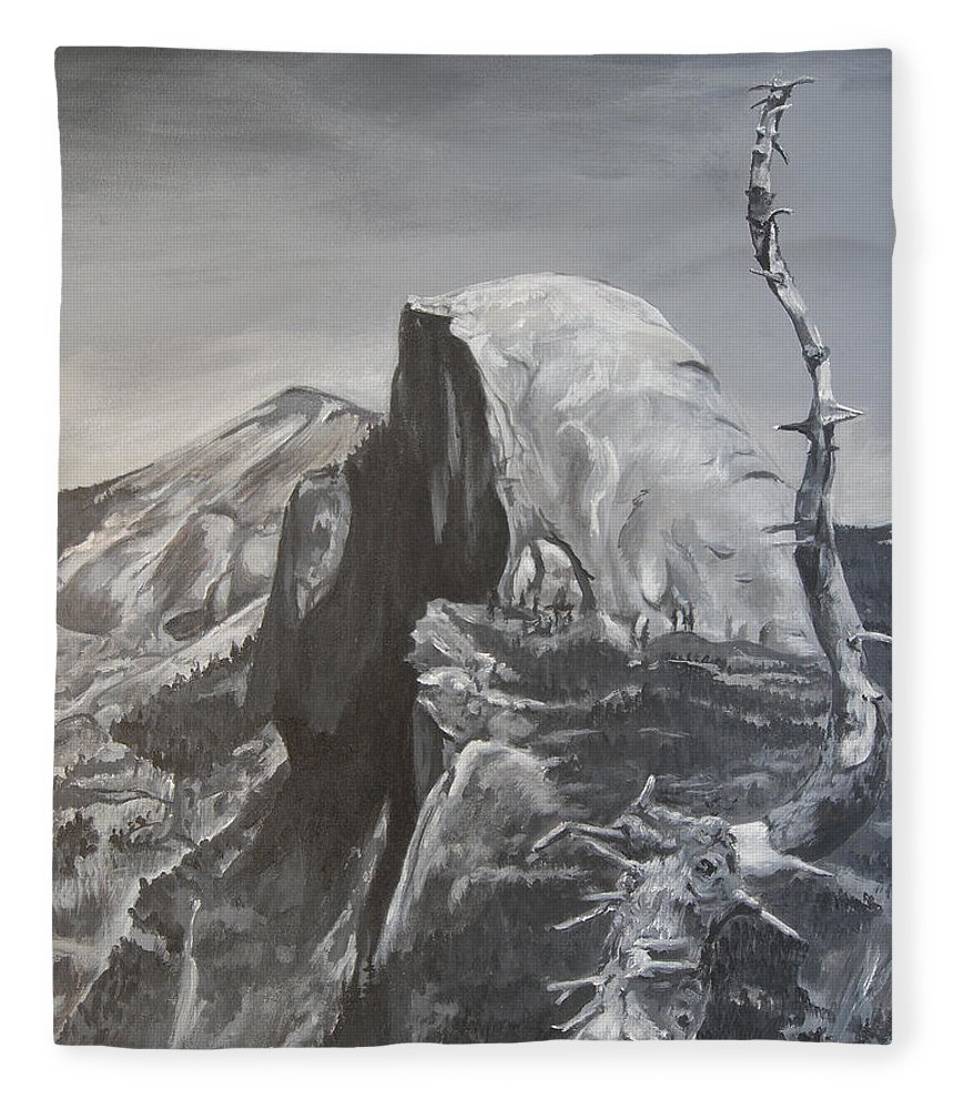 Black And White Painting Fleece Blanket featuring the painting Half Dome Tree by Travis Day