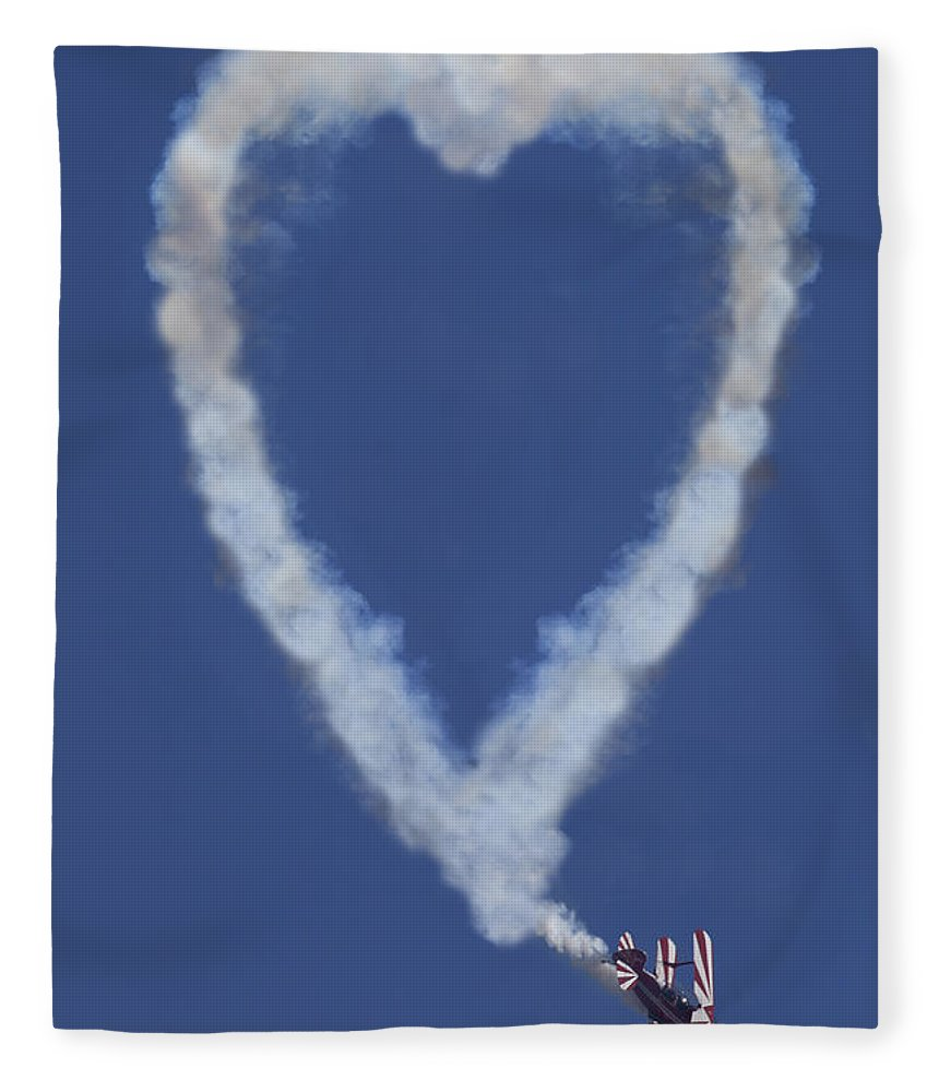 Plane Fleece Blanket featuring the photograph Heart Shape Smoke And Plane by Garry Gay