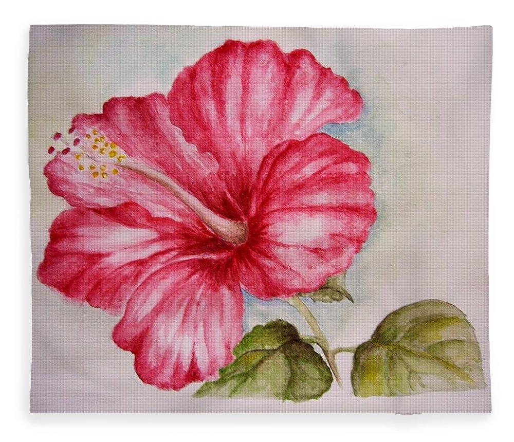 Hibiscus flower fleece blanket for sale by draia coralia red hibiscus fleece blanket featuring the painting hibiscus flower by draia coralia izmirmasajfo