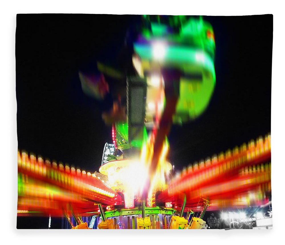 Fairground Ride At Night Fleece Blanket featuring the digital art Hoppity Hop Hop Hop by Charles Stuart