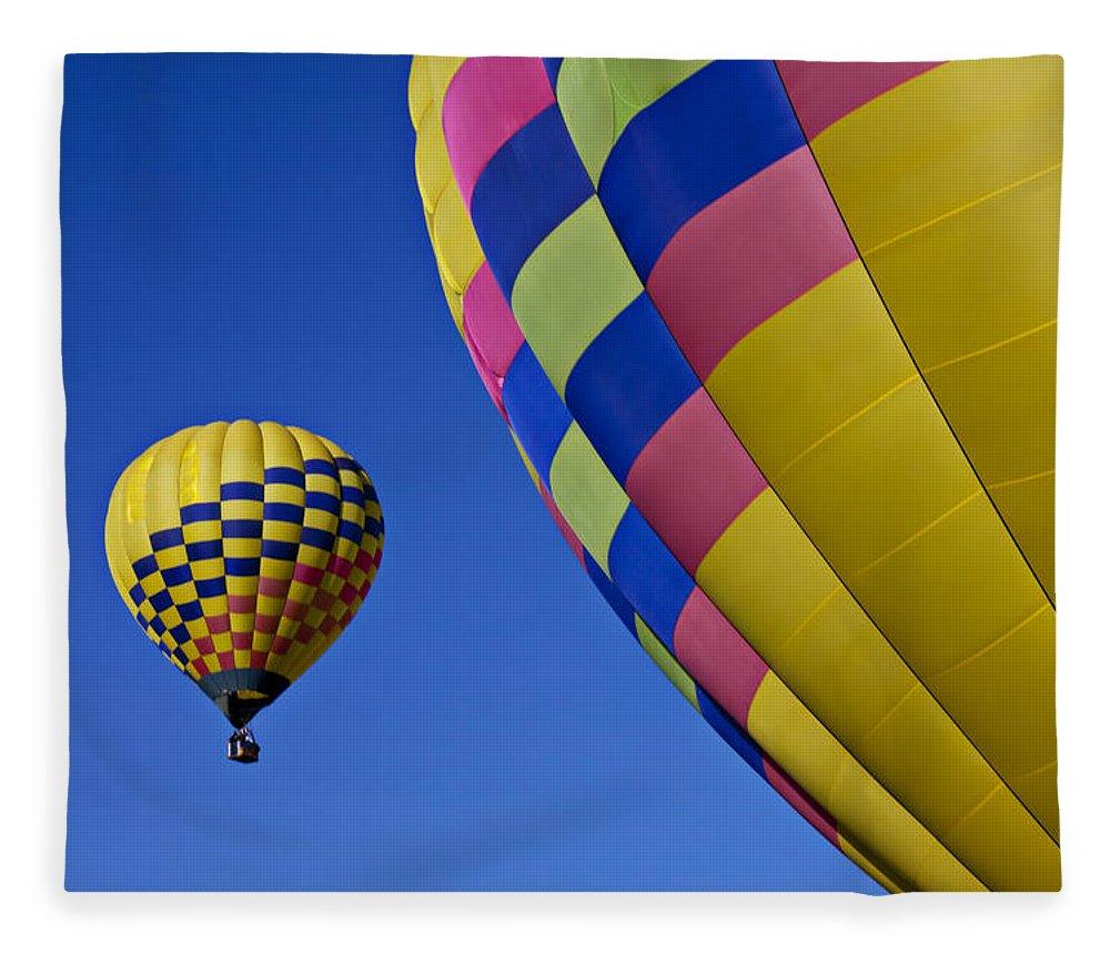 Hot Air Balloons Fleece Blanket featuring the photograph Hot Air Balloons by Garry Gay