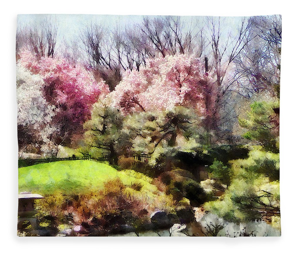 Japanese Garden Fleece Blanket featuring the photograph Japanese Spring by Susan Savad