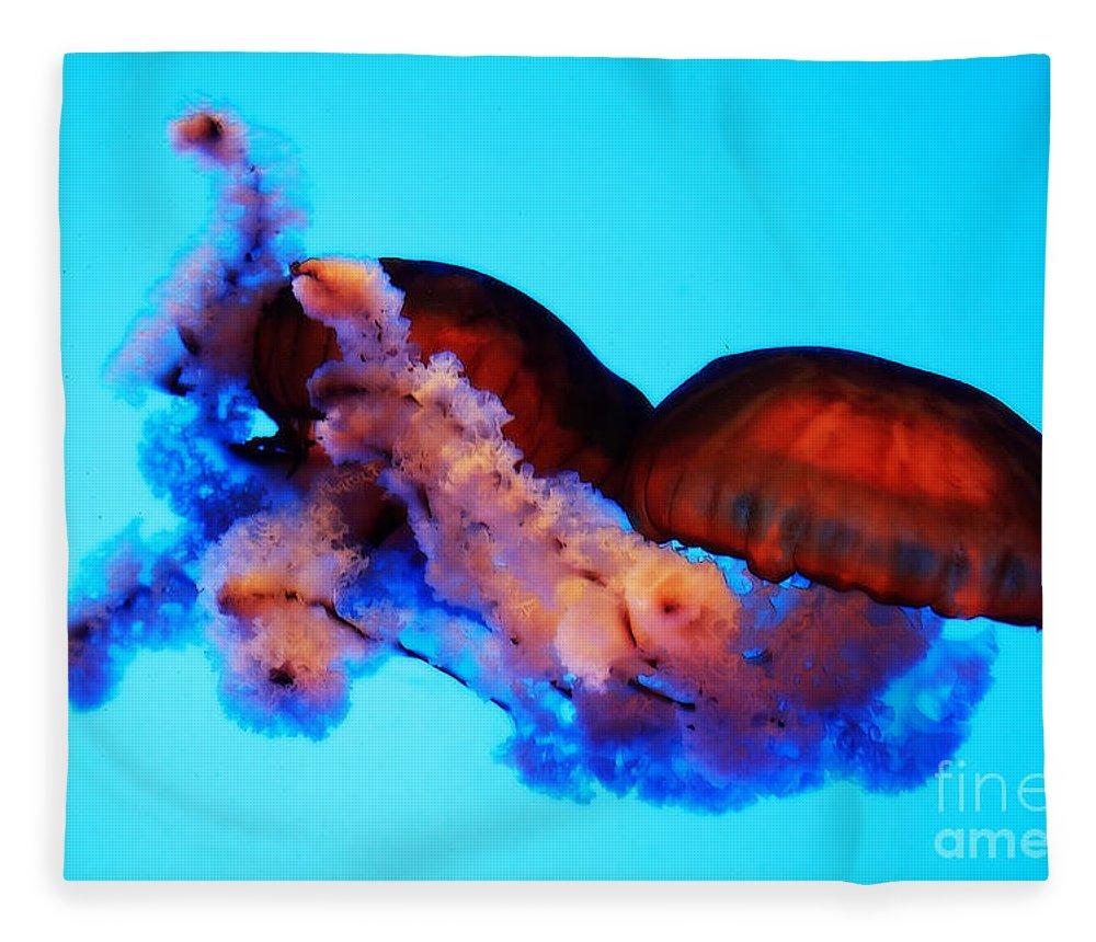 Jellyfish Fleece Blanket featuring the photograph Jellyfish Drama - Digital Art by Carol Groenen