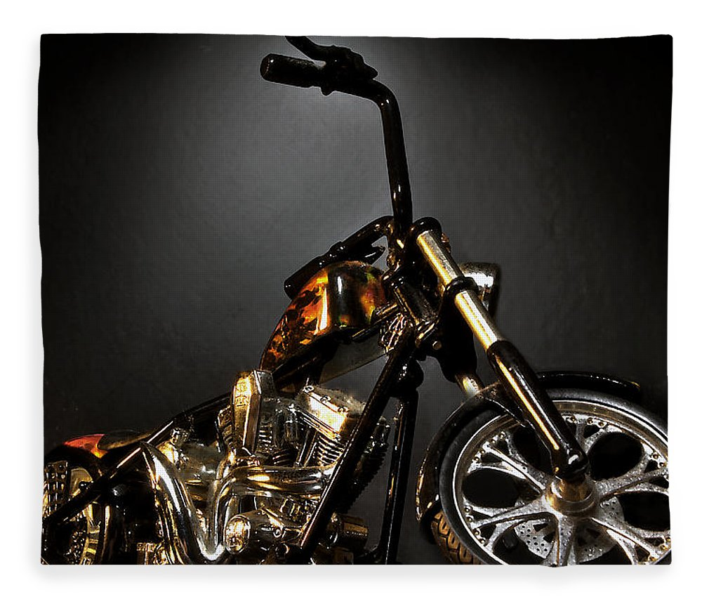 Fleece Blanket featuring the photograph Jesse James Bike 2 Detroit MI by Nicholas Grunas
