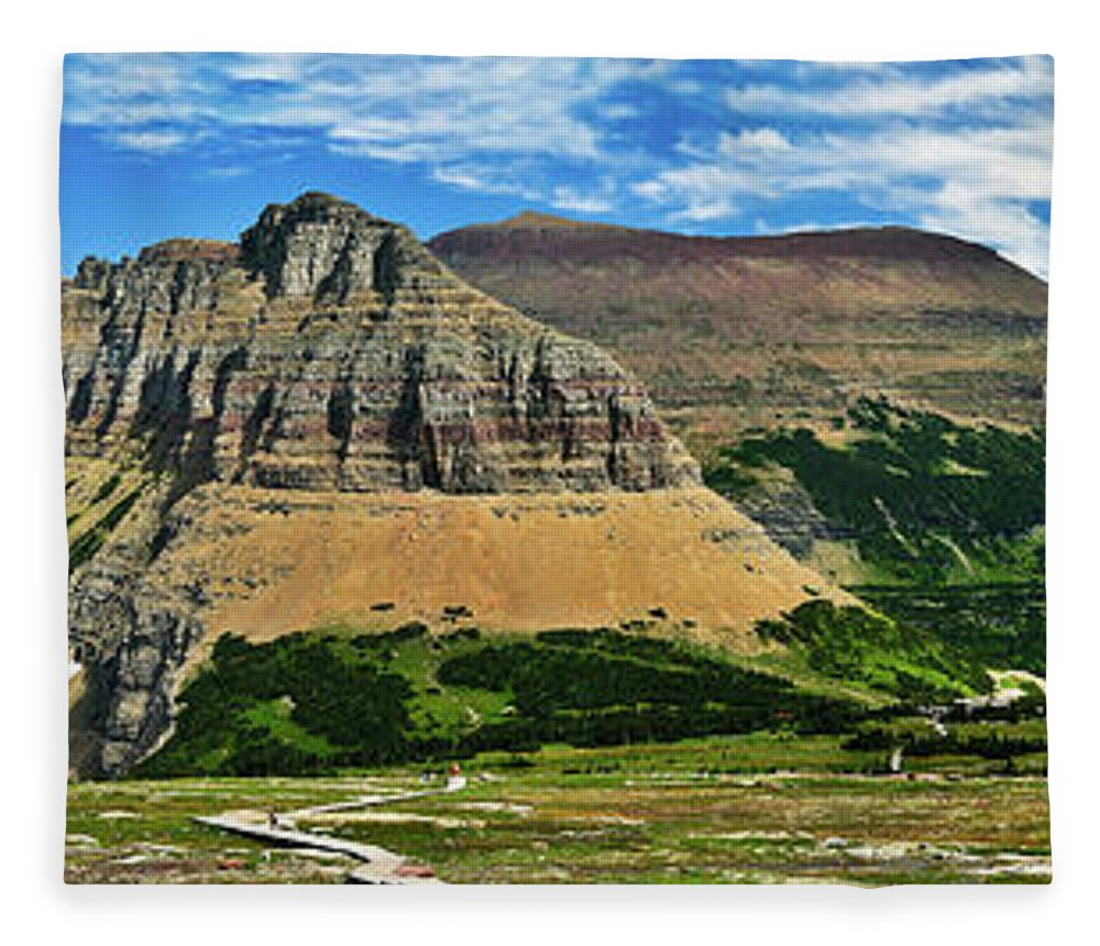 Glacier National Park Fleece Blanket featuring the photograph Logan Pass Panorama by Greg Norrell
