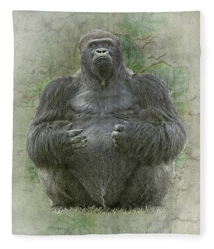 Gorilla Fleece Blanket featuring the photograph Lowland Silverback Gorilla by Rudy Umans
