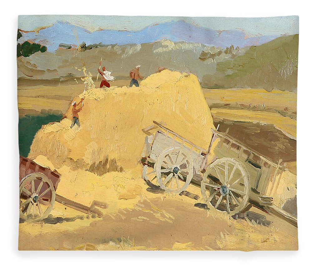 Hay Stack Fleece Blanket featuring the painting Making Hay Stacks by Ylli Haruni