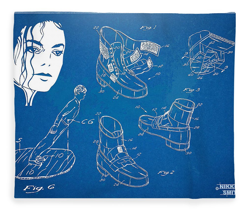 Michael Jackson Fleece Blanket featuring the digital art Michael Jackson Anti-gravity Shoe Patent Artwork by Nikki Marie Smith