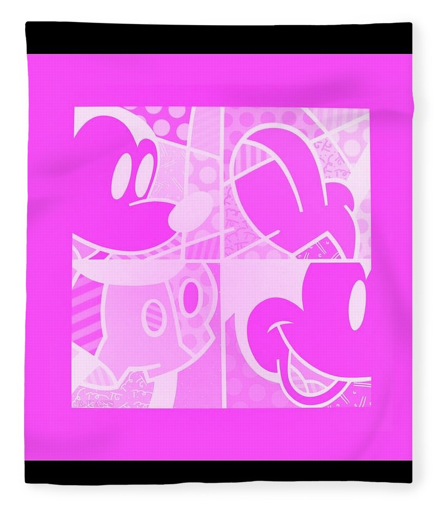 Mickey Mouse Fleece Blanket featuring the photograph Mickey In Negative Pink by Rob Hans