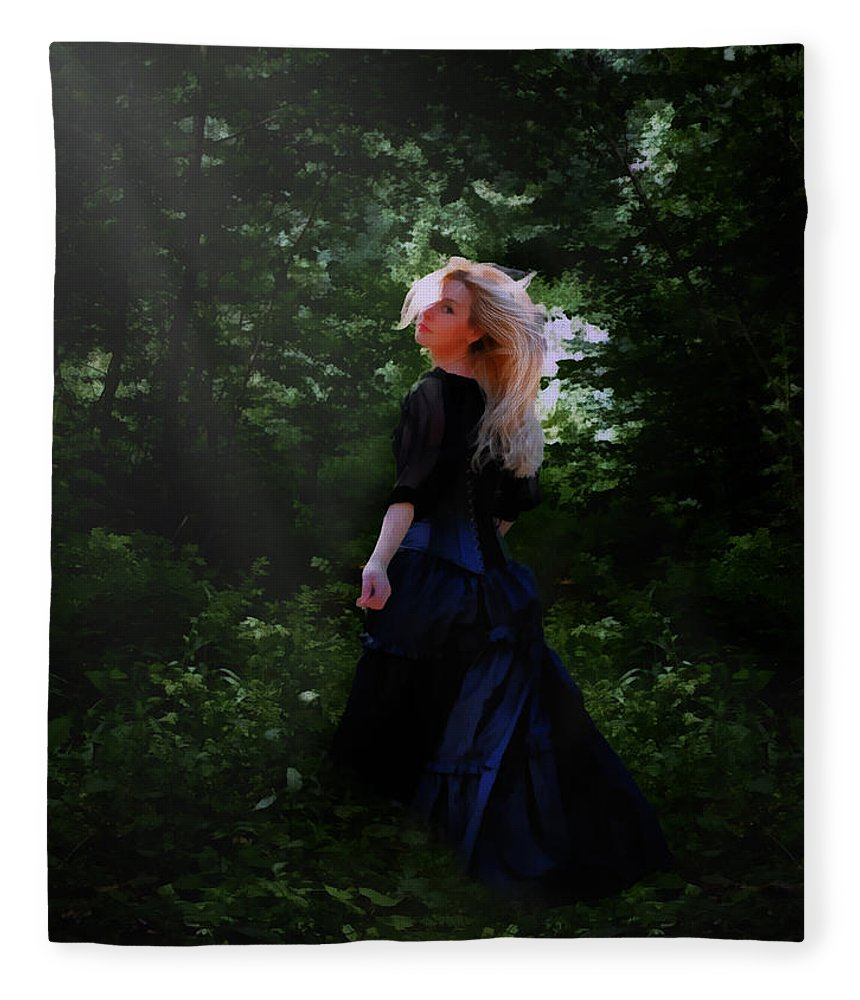 Goth Fleece Blanket featuring the digital art Moonlight Calls Me by Nikki Marie Smith