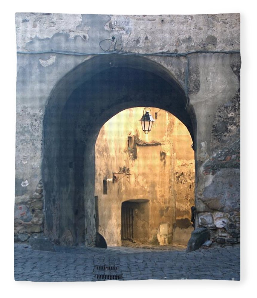 Sighisoara Fleece Blanket featuring the photograph Old town gate 1 by Amalia Suruceanu