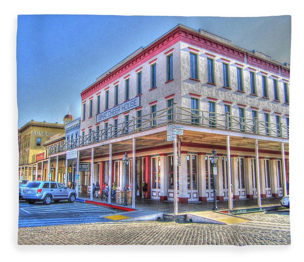 Street Corner Fleece Blanket featuring the photograph Old Towne Sacramento by Barry Jones