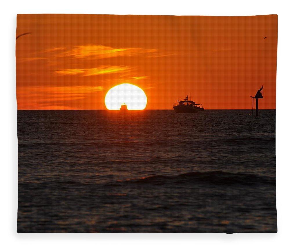 Sunset Fleece Blanket featuring the photograph Orange Sunset II by Christine Stonebridge
