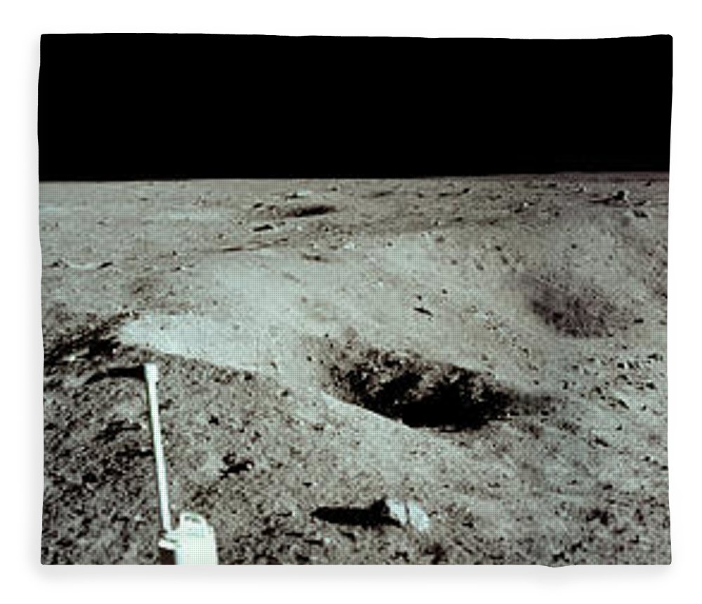 Nasa Fleece Blanket featuring the photograph Panoramic Of Rim Of Lunar Crater by Nasa