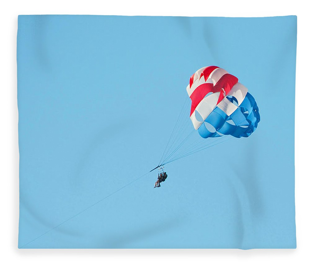 Parasailing Fleece Blanket featuring the photograph Parasailers over Marco by Christine Stonebridge