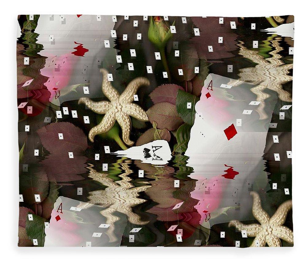 Landscape Fleece Blanket featuring the mixed media Poker Pop Art All In by Pepita Selles