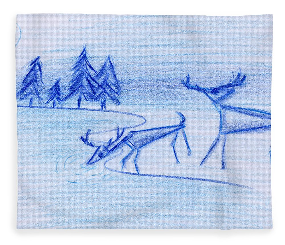 Animals Fleece Blanket featuring the painting Prehistoric Scenic by John Bowers