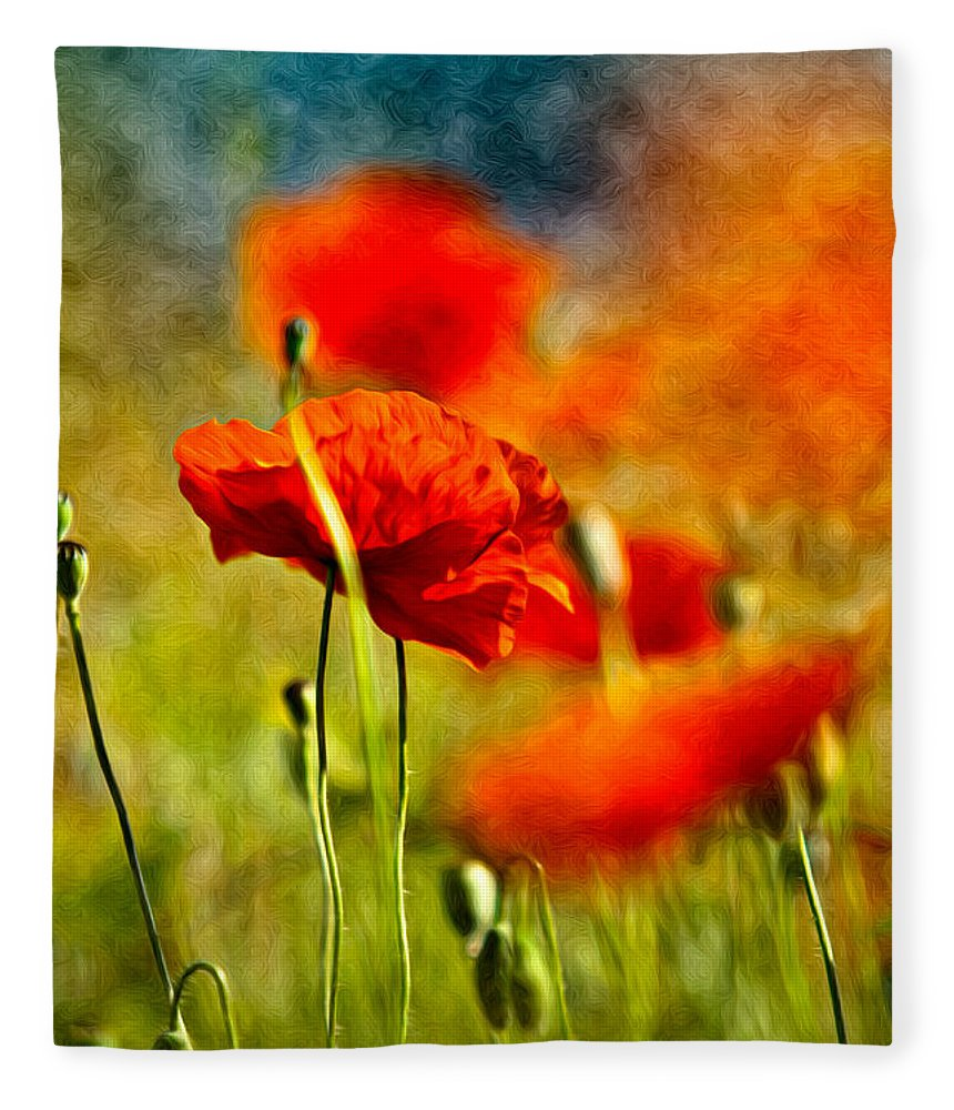 Poppy Fleece Blanket featuring the painting Red Poppy Flowers 01 by Nailia Schwarz