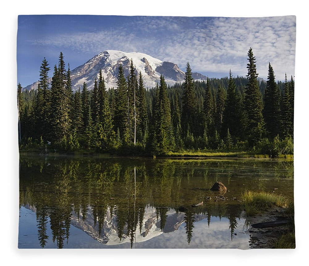 Mp Fleece Blanket featuring the photograph Reflection Lake And Mount Rainier by Konrad Wothe