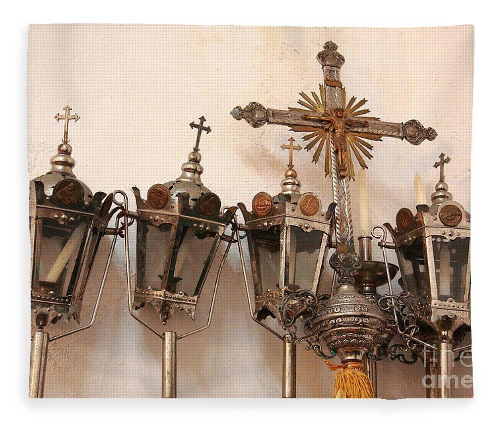 Lanterns Fleece Blanket featuring the photograph Religious Artifacts by Gaspar Avila