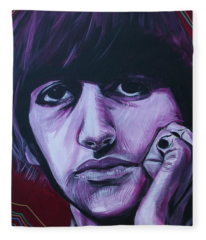Beatles Fleece Blanket featuring the painting Ringo Star by Kate Fortin