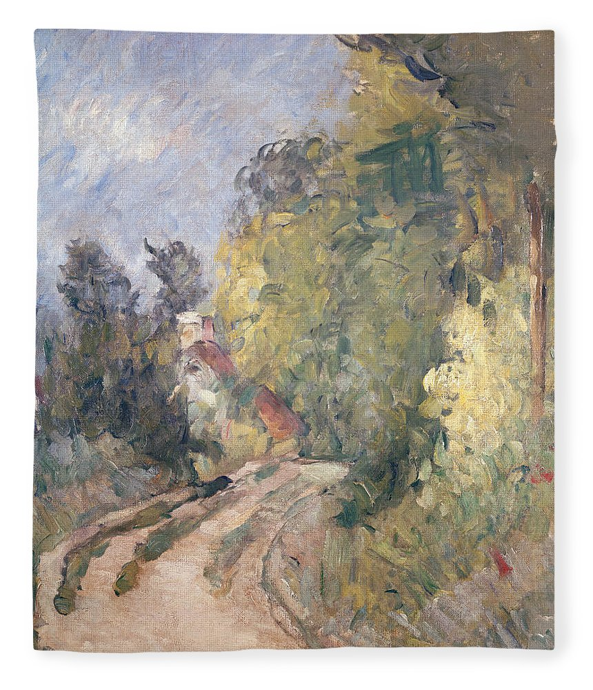 Road Fleece Blanket featuring the painting Road Turning Under Trees by Paul Cezanne