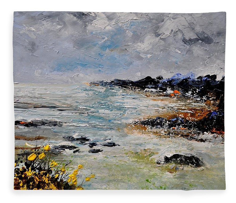 Seascape Fleece Blanket featuring the painting Seascape 452160 by Pol Ledent