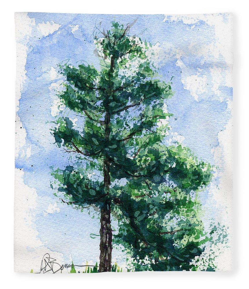 Tree Fleece Blanket featuring the painting Simple Pine Tree by John D Benson