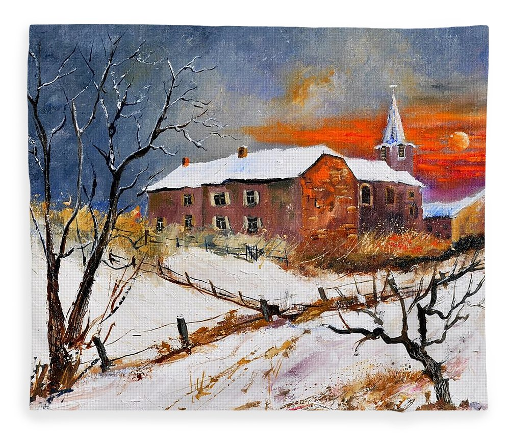 Landscape Fleece Blanket featuring the painting Snow In Houyet by Pol Ledent