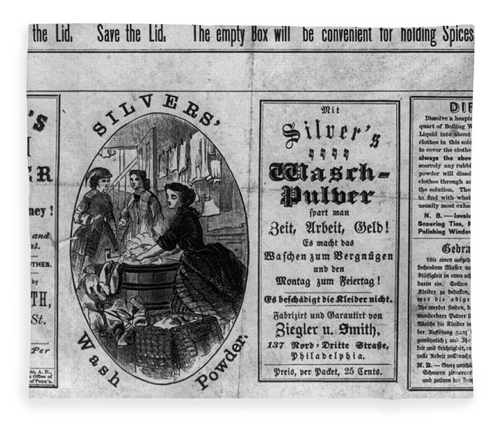1866 Fleece Blanket featuring the photograph Soap Advertisement, C1866 by Granger