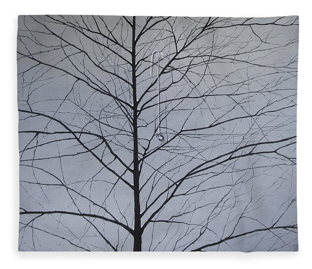 Winter Trees Fleece Blanket featuring the painting Sorrow by Roger Calle